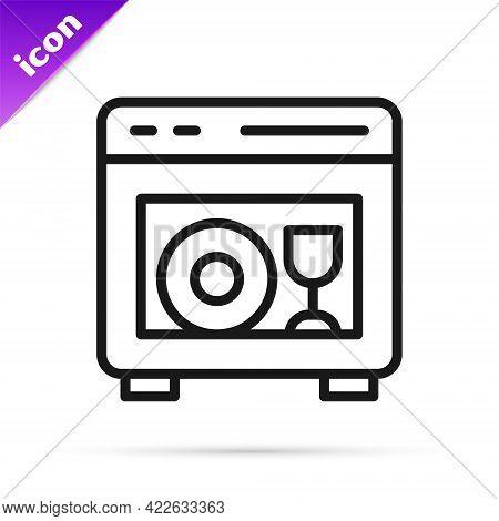 Black Line Kitchen Dishwasher Machine Icon Isolated On White Background. Vector