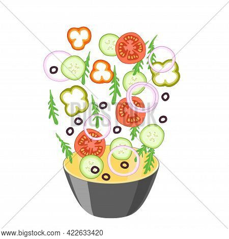 Ingredients For Vegetable Salad Fall Into A Large Bowl. Vegetables For Healthy Food. Vegetarianism,