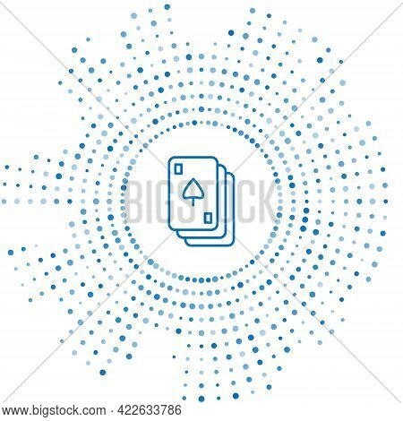 Blue Line Playing Cards Icon Isolated On White Background. Casino Gambling. Abstract Circle Random D