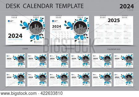 Desk Calendar 2024 Set Template And Calendar 2025 Layout, Set Of 12 Months, Planner, Week Starts On
