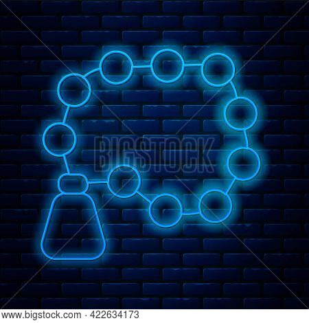 Glowing Neon Line Rosary Beads Religion Icon Isolated On Brick Wall Background. Vector