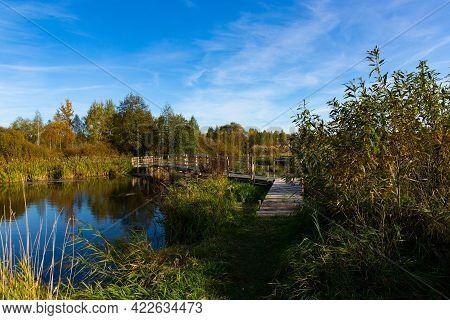 Customized, Homemade Pedestrian Bridge Across The River. Autumn Landscape.