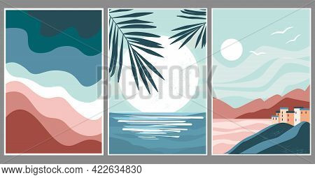 Set Art Abstract Minimalistic Landscape. Palm Leaves On The Background Of The Moon, Sun, Sunset, Sea