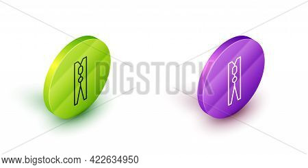 Isometric Line Old Wood Clothes Pin Icon Isolated On White Background. Clothes Peg. Green And Purple