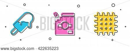Set Ice Cream, Candy Packaging For Sweets And Cracker Biscuit Icon. Vector