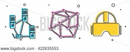 Set Computer Network, Neural Network And Virtual Reality Glasses Icon. Vector