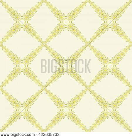 Seamless Pattern Of Flowers In The Form Of A Mesh Ornament In Light Yellow Bed Tones For Prints On F
