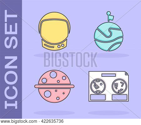 Set Celestial Map Of The Night Sky, Astronaut Helmet, Planet Saturn And Moon With Flag Icon. Vector