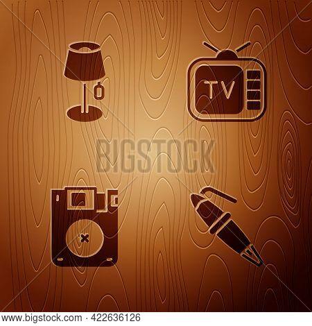 Set Fountain Pen Nib, Floor Lamp, Floppy Disk And Retro Tv On Wooden Background. Vector