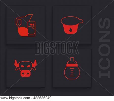 Set Baby Milk In A Bottle, Milk Jug Or Pitcher And Glass, Yogurt Container And Cow Head Icon. Vector