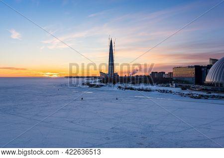 Panoramic View Of Lakhta Center And The Finnish Gulf, Saint-petersburg, Russia