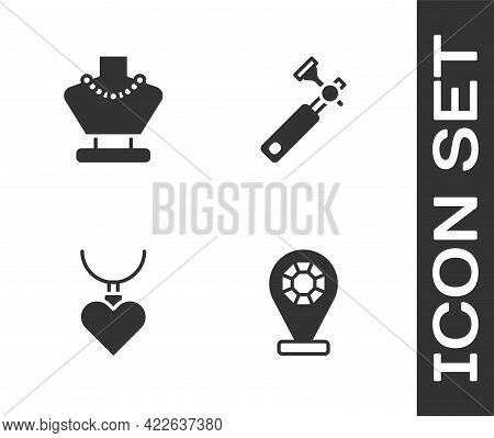 Set Jewelry Store, Necklace On Mannequin, With Heart Shaped Pendant And Jewelers Lupe Icon. Vector
