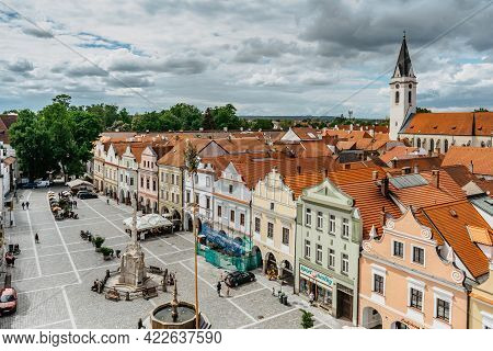 Trebon,czech Republic - May 28,2021. Aerial View Of Popular Spa Town In South Bohemia.houses With Co