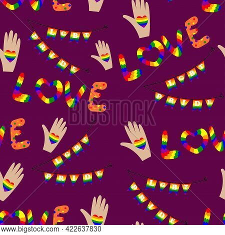 Seamless Pattern For Lgbt Pride Month. Human Rights And Tolerance. Concept Of Gay Pride. Vector Cart
