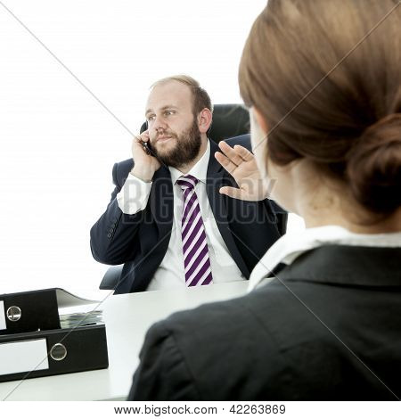 Beard Business Man Brunette Woman At Desk Sign Be Quiet
