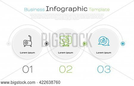 Set Line Stationary Bicycle, Bodybuilder Muscle And . Business Infographic Template. Vector