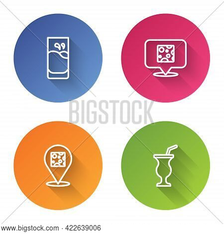 Set Line Glass With Milk, Cheese, And Milkshake. Color Circle Button. Vector