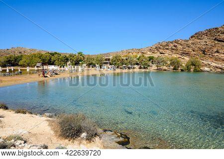 Paros, Greece - September 29, 2020: Monastiri Beach (the Beach Of The Monastery Of Agios Ioannis) Lo