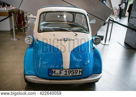 Munich, Germany - September 14, 2018: A Retro Bmw 250 Zetta Classic Car In Bmw Museum.
