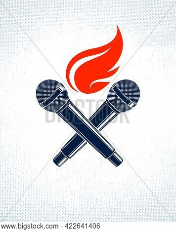 Two Microphones Crossed On Fire, Hot Mic In Flames, Rap Battle Rhymes Music, Karaoke Singing, Vector
