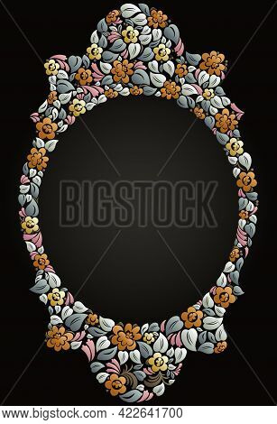 Floral Frame Made Of Leaves And Flowers Vector Vintage Design, Decorative Blank Classic Style Border