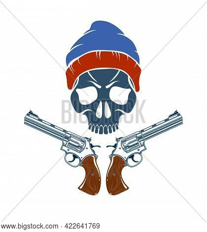 Skull And Two Handguns Vector Emblem Or Logo Isolated On White, Vintage Style Coat Of Arms Crest, We