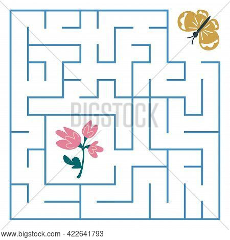 A Butterfly Flies To A Pink Flower Through A Maze Game. Square Labyrinth. Maze For Children Task. Th