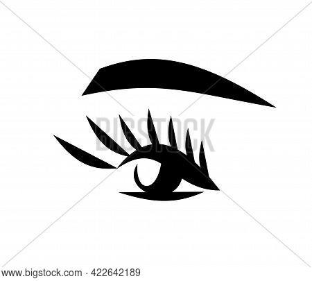 Eyelashes And Eyebrows. Makeup - Vector Illustration On White Background.