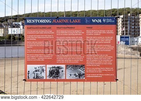 Weston-super-mare, Uk - June 1, 2021: A Sign Explaining The Measures Being Taken To Restore The Mari