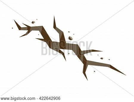 Ground Land Earth Crack Natural Disaster Concept Vector Isometric Illustration Isolated On White Bac