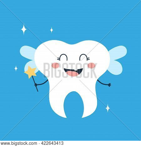 Cute Tooth, Tooth Fairy With Magic Wand Isolated On Blue Background, Vector Illustration For Tooth F