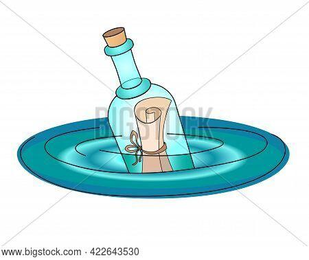Bottle Mail. Letter In A Bottle - Vector Full Color Illustration. A Note In An Empty Bottle Floats O