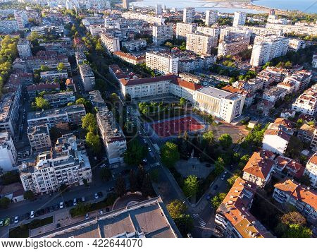 Aerial View Of The City Center Of Burgas, Bulgaria.