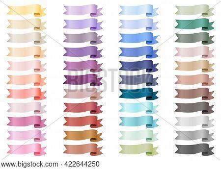Set Of Various Satin Ribbons. Ribbon Elements. Flag Shape Banner. Decorative Elements. Vector Set Co
