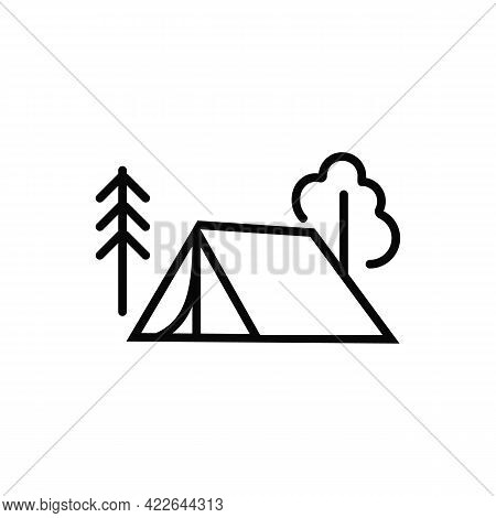 A Tent For Camping. Tourist Tent. A Symbol Of Outdoor Recreation. Element For The Logo Of A Travel C