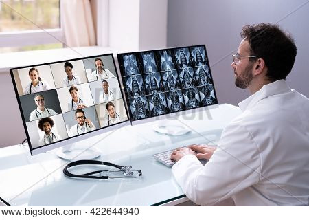 Medical Doctor Video Conference Technology And Online Elearning