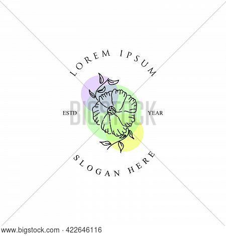 Feminine Nature Logo Design Template Isolated On White Background