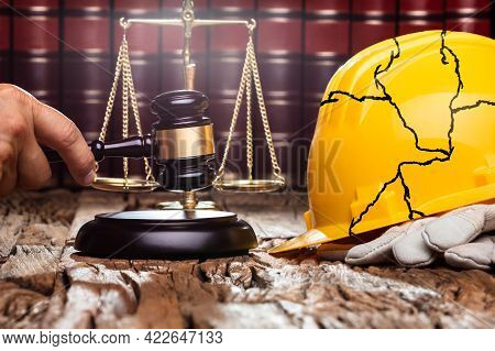 Construction Accident Litigation In Court. Mallet In Courtroom