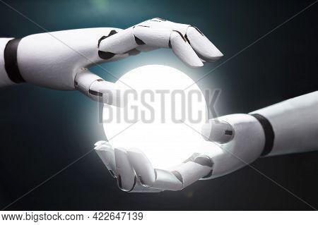 Robot Predicting Future With Crystal Ball And Ai