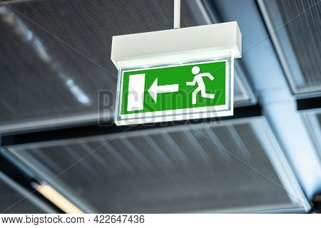 Emergency Evacuation Exit Sign. Fire Caution Label