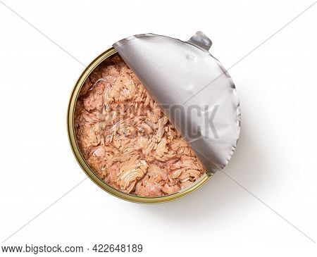 Canned Tuna Meat With Oil In A Large Half Open Tin Isolated On White Background. Preserved Tuna Fish