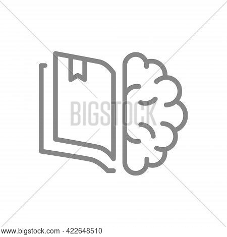 Open Book With Brain Line Icon. Encyclopedia, Smart Thinking, Education Course Symbol