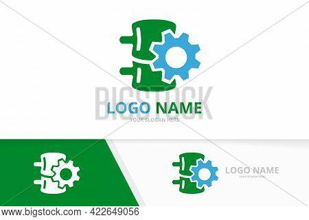 Vector Spine And Gear Logo Combination. Industrial Vertebral Column Logotype Design Template.