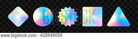 Holographic Stickers. Hologram Labels Of Different Shapes. Sticker Shapes For Design Mockups. Hologr