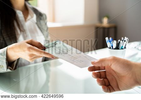 Payroll Compensation Cheque. Bank Paycheck. Social Security