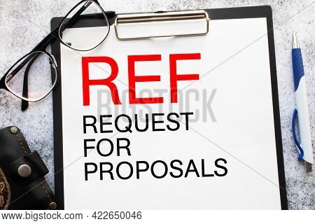 Rfp- Request For Proposal Written In Notebook.