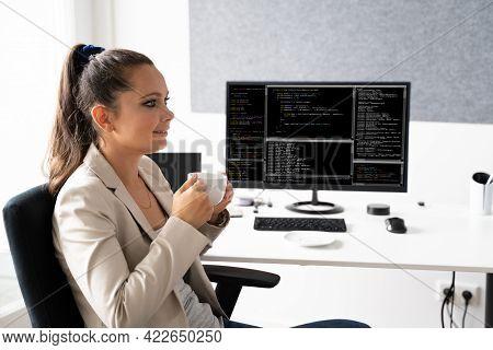 Programmer Woman Coding On Computer. Coder Girl