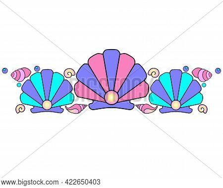Seashells And Pearls - Vector Linear Full Color Illustration - Divider. Sea Border Of Scallop Shells
