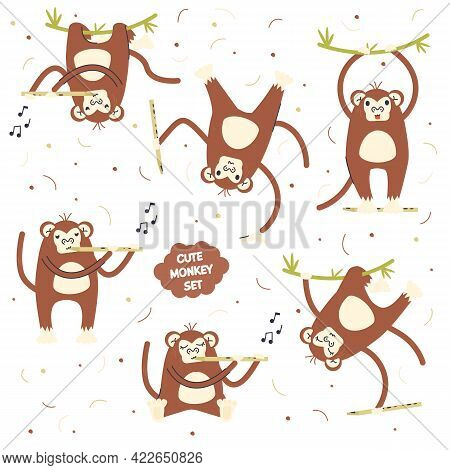 Cute Scandinavian Monkey Set Isolated On White. Jungle Animal Collection Print. Primate With Flute I