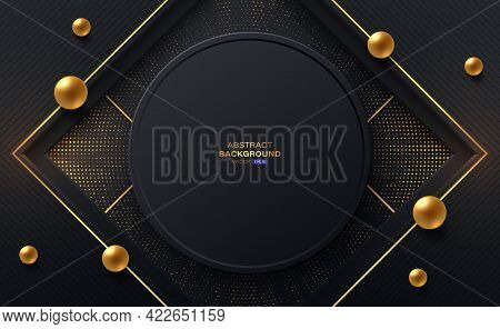 Black Circle Frame And Square Shapes With Gold Stripes, Gold Spheres. Abstract Black Background Text